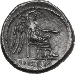 reverse: M. Cato.AR Quinarius, 89 BC
