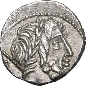 obverse: L. Rubrius Dossenus.AR Denarius, 87 BC