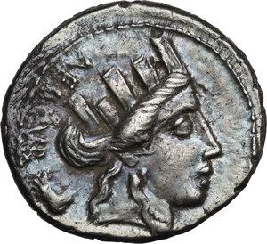 obverse: P. Furius Crassipes.AR Denarius, 84 BC