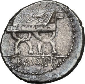 reverse: P. Furius Crassipes.AR Denarius, 84 BC