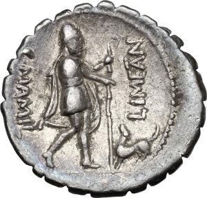 reverse: C. Mamilius Limetanus.AR Denarius serratus, 82 BC