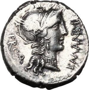 obverse: L. Manlius Torquatus.AR Denarius, 82 BC