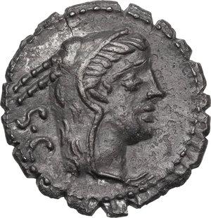 obverse: L. Procilius.AR Denarius serratus, 80 BC