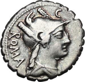obverse: C. Poblicius Q. f. AR Denarius serratus, 80 BC