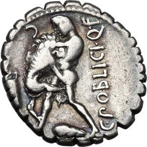 reverse: C. Poblicius Q. f. AR Denarius serratus, 80 BC