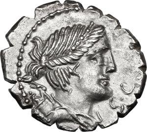 obverse: Ti. Claudius Ti. f. Ap. n. Nero.AR Denarius serratus, 79 BC