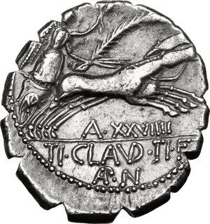 reverse: Ti. Claudius Ti. f. Ap. n. Nero.AR Denarius serratus, 79 BC