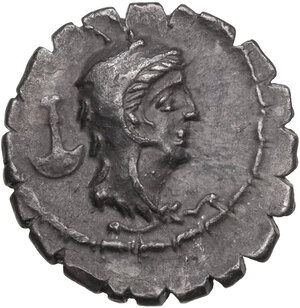 obverse: L. Papius.AR Denarius serratus, 79 BC