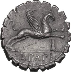 reverse: L. Papius.AR Denarius serratus, 79 BC