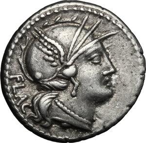 obverse: L. Rutilius Flaccus.AR Denarius, 77 BC