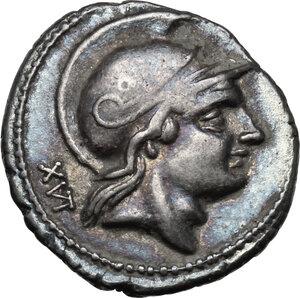 obverse: P. Satrienus.AR Denarius, 77 BC