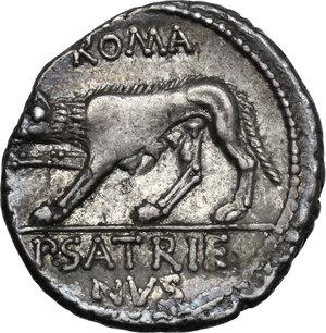 reverse: P. Satrienus.AR Denarius, 77 BC