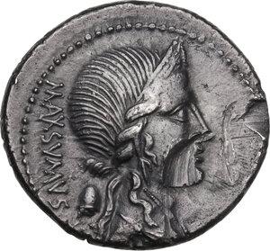 obverse: C. Egnatius Cn. f. Cn. n. Maxsumus. AR Denarius, 75 BC