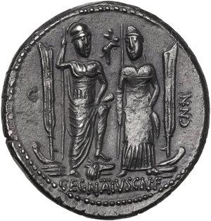 reverse: C. Egnatius Cn. f. Cn. n. Maxsumus. AR Denarius, 75 BC