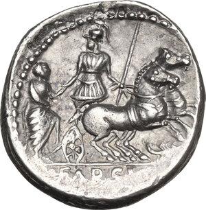 reverse: L. Farsuleius Mensor.AR Denarius, 75 BC