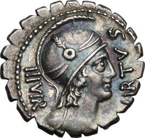 obverse: Mn. Aquillius Mn. f. Mn. n.AR Denarius serratus, 71 BC
