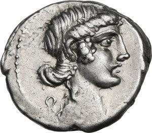 obverse: M. Plaetorius M. f. Cestianus.AR Denarius, 67 BC