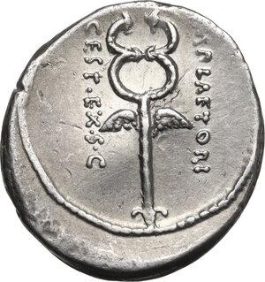 reverse: M. Plaetorius M. f. Cestianus.AR Denarius, 69 BC