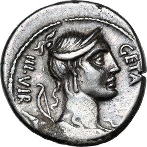 obverse: C. Hosidius C.f. Geta.AR Denarius, 68 BC