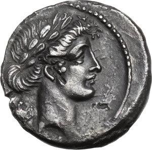 obverse: Q. Pomponius Musa.AR Denarius, 66 BC