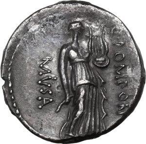 reverse: Q. Pomponius Musa.AR Denarius, 66 BC