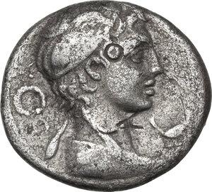 obverse: M. Piso M.f. Frugi. AR Brockage Denarius, 61 BC