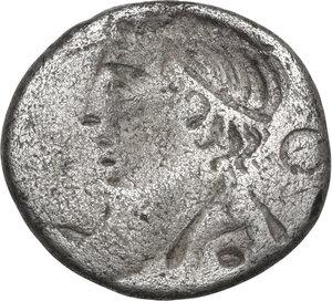 reverse: M. Piso M.f. Frugi. AR Brockage Denarius, 61 BC