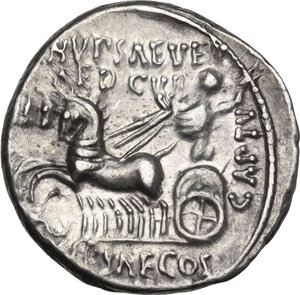 reverse: M. Aemilius Scaurus and Pub. Plautius Hypsaeus. AR Denarius, 58 BC
