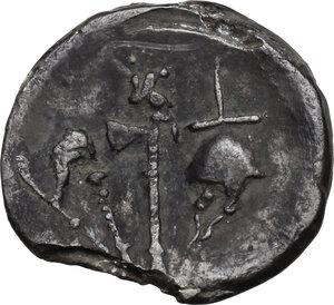 reverse: Julius Caesar.AR Denarius, mint moving with Caesar, 49-48 BC