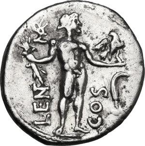 reverse: L. Cornelius Lentulus e C. Claudius Marcellus.AR Denarius, 49 BC. Military mint in the East, moving with Pompey
