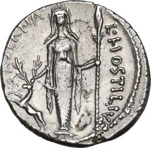 reverse: L. Hostilius Saserna.AR Denarius, 48 BC
