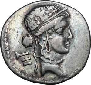 obverse: Julius Caesar.Fourrèe Denarius, 48-47 BC. Mint moving with Caesar