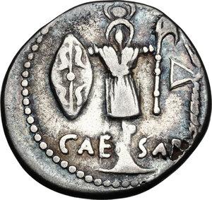 reverse: Julius Caesar.Fourrèe Denarius, 48-47 BC. Mint moving with Caesar