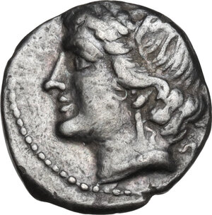 obverse: Bruttium, Carthaginians in South-West Italy. AR Quarter Shekel, c. 215-205 BC. Second Punic War issue