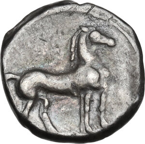 reverse: Bruttium, Carthaginians in South-West Italy. AR Quarter Shekel, c. 215-205 BC. Second Punic War issue