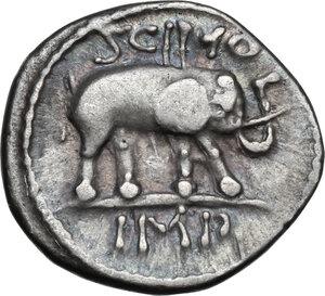 reverse: Q. Caecilius Metellus Pius Scipio.AR Denarius, 47-46 BC. Africa