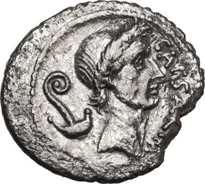 obverse: Julius Caesar.AR Denarius, January-February 44 BC. M. Mettius, moneyer