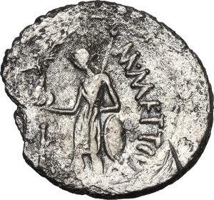 reverse: Julius Caesar.AR Denarius, January-February 44 BC. M. Mettius, moneyer