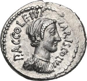 obverse: P. Accoleius Lariscolus.AR Denarius, 43 BC