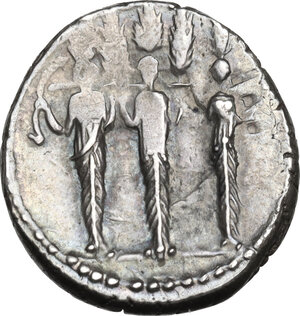 reverse: P. Accoleius Lariscolus.AR Denarius, 43 BC