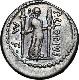 reverse: P. Clodius M.f. Turrinus.AR Denarius, 42 BC