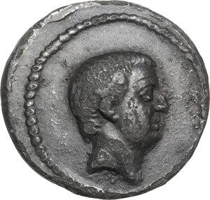 obverse: L. Livineius Regulus.Fourrée Denarius, 42 BC