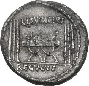reverse: L. Livineius Regulus.Fourrée Denarius, 42 BC