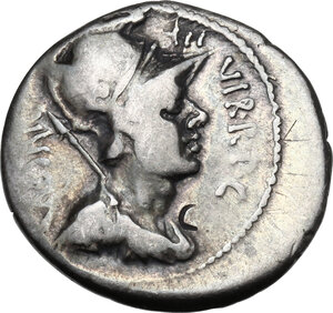 obverse: Octavian. AR Denarius, 42 BC, mint moving with Octavian