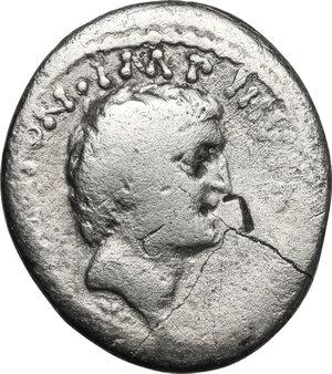 obverse: Mark Antony and Octavian Tresviri. AR Denarius, 39 BC, mint moving with M.Antonius