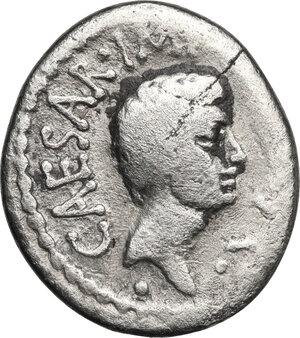 reverse: Mark Antony and Octavian Tresviri. AR Denarius, 39 BC, mint moving with M.Antonius