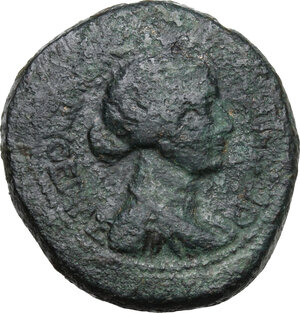obverse: Mark Antony and Octavian.AE 28 mm. Thessalonica mint, Macedon, c. 37 BC