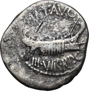 obverse: Mark Antony.AR Denarius, autumn 32-spring 31 BC. Legionary issue. Patrae(?) mint