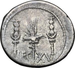 reverse: Mark Antony. AR Denarius, 32-31 BC
