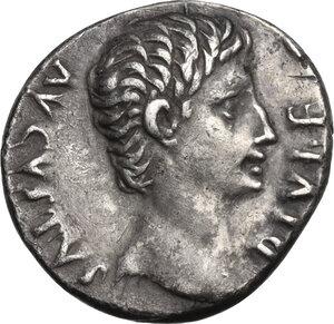 obverse: Augustus (27 BC - 14 AD) . AR Denarius. Lugdunum mint. Struck 15 BC